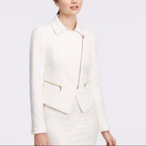 Ann Taylor White Boiled Wool Moro Jacket